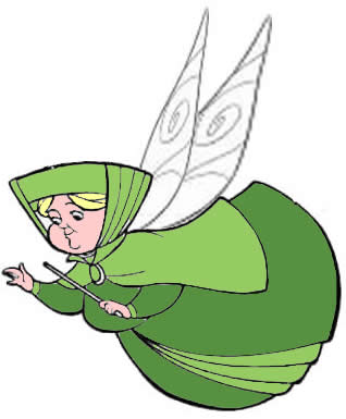 Représentation dessinée de la fée verte apparue auprès de moi